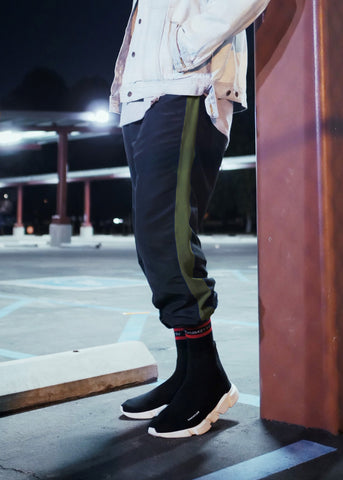 Black Parachute Track Pants with Olive Stripe - DVCN Maison