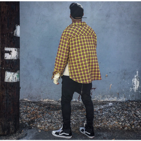 Flannel Shirt w/ Side Zippers - Yellow Plaid - DVCN Maison
