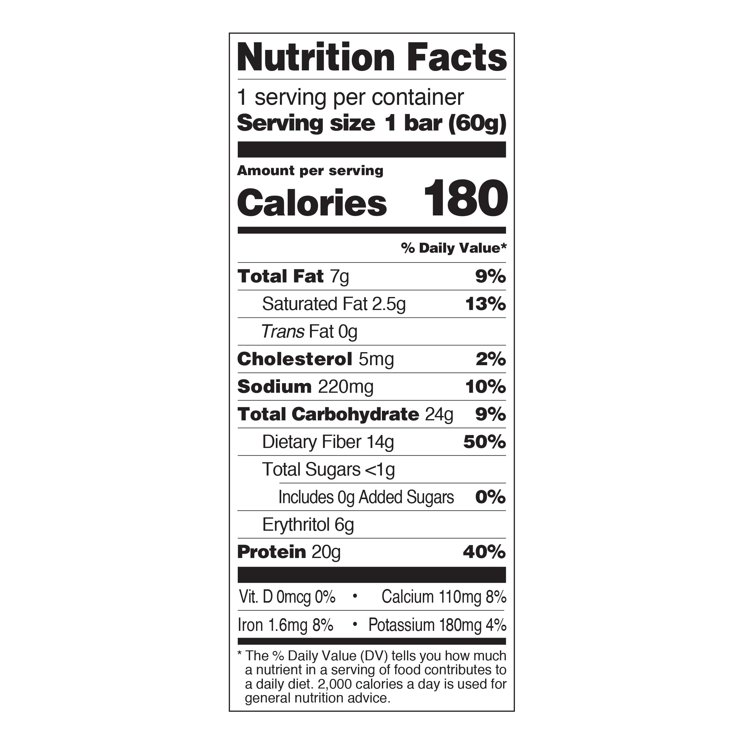 Double Chocolate Chunk Nutrition