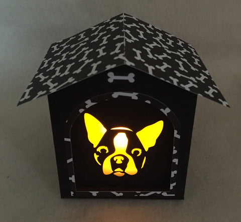 Boston Terrier Gift Doghouse LED Candle Luminary