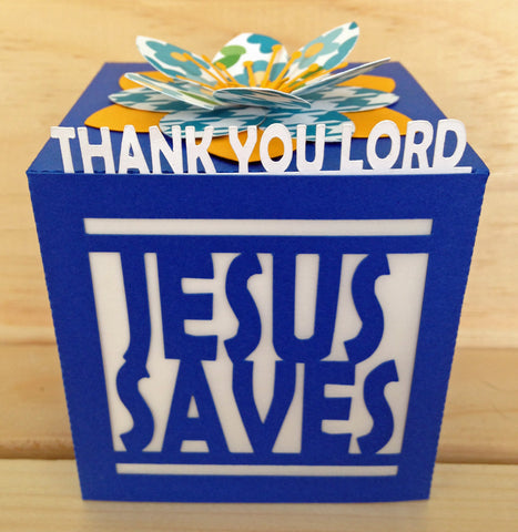 """Jesus Saves"" Faith Message Luminary-Blue"