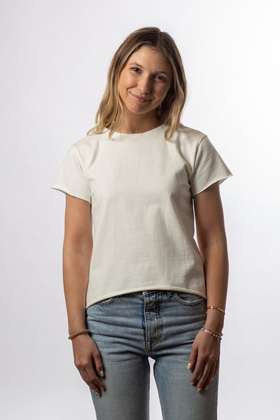 Boxy Waistband Raw Edge Crew - Natural Organic Cotton