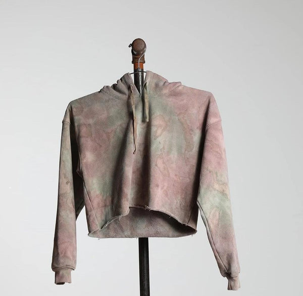CROPPED HOODIE RECYCLED WATER BOTTLE - CAMO DYE