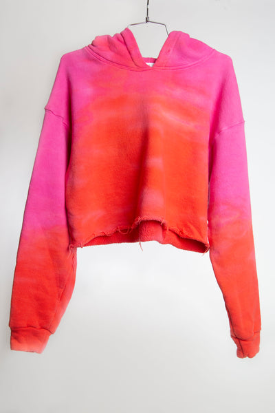 CROPPED HOODIE FRENCH TERRY - PINK TONAL DYE