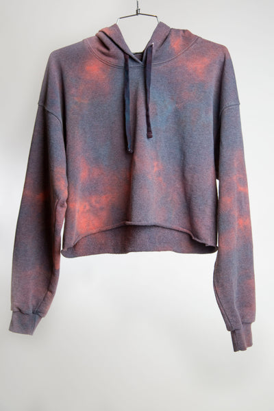 CROPPED HOODIE RECYCLED WATER BOTTLE - FADED NAVY + HOT TOMATO
