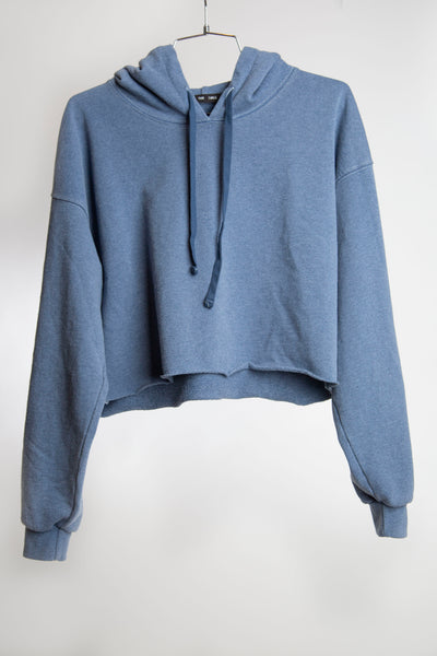 CROPPED HOODIE RECYCLED WATER BOTTLE - FADED NAVY
