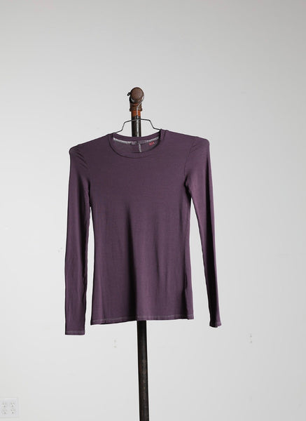 LONG SLEEVE FITTED CREW - PLUM