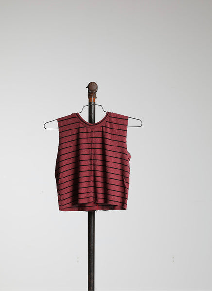 CROPPED MUSCLE - WINE STRIPE HACCI