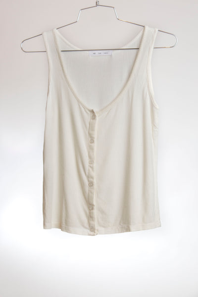 BUTTON DOWN TANK - OFF WHITE RIBBED