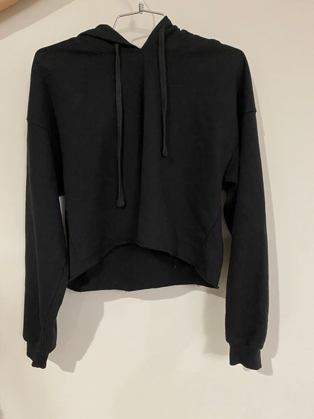 CROPPED HOODIE RECYCLED WATER BOTTLE - BLACK