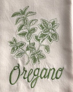 Set of 6 Embroidered Herb Tea Towels