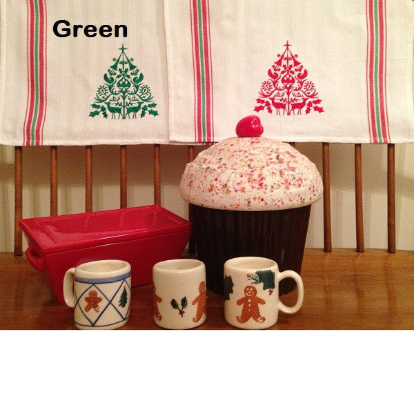 Embroidered Folk Christmas Tree Tea Towel