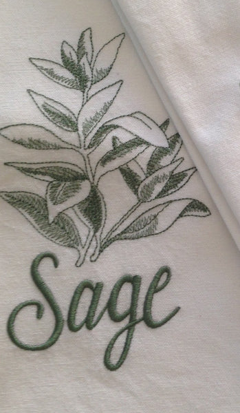 Embroidered Herb Tea Towel