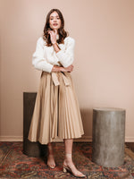 Pleated Poplin Wrap Skirt