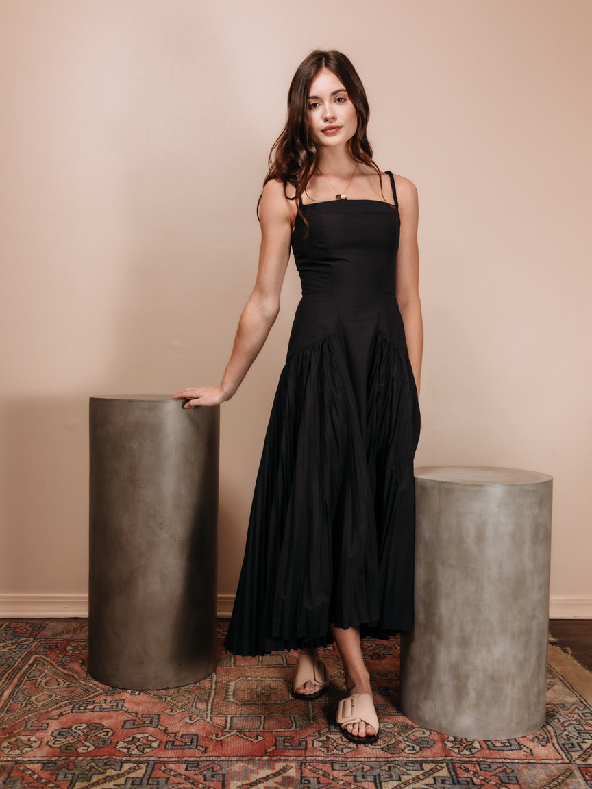 Pleated Poplin Maxi Dress