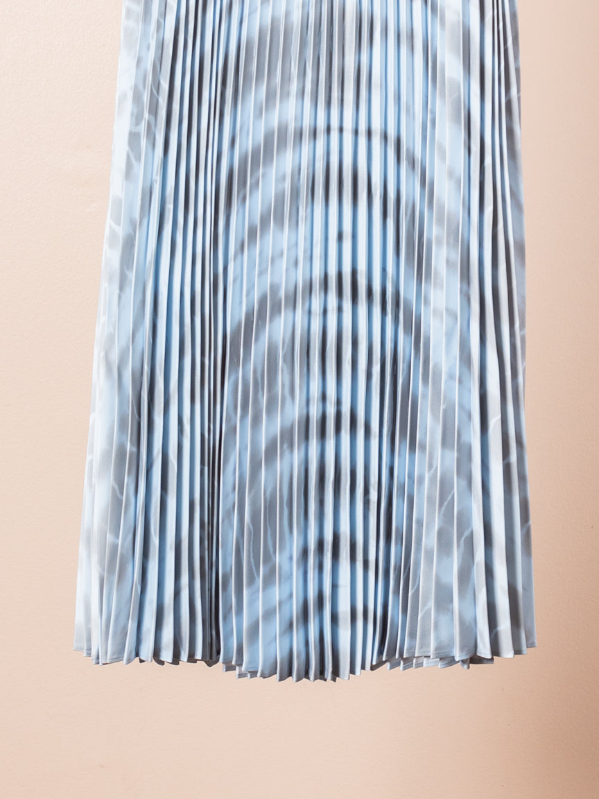 Printed Pleated Long Skirt