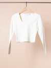 Compact Knit Scoop Top in Off White
