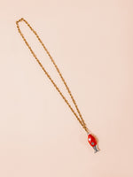 Long Metallic Necklace in Red
