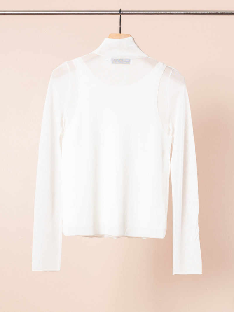 Sheer T-Neck Layered Top