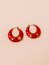 Metallic Hoop Earrings in Red