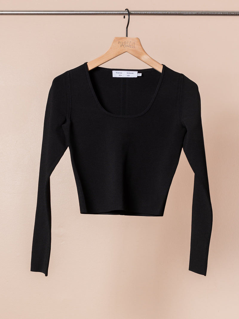 Compact Knit Scoop Top in Black