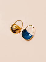 Bronze Enamel Earrings in Teal