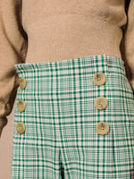 Wide Leg Sailor Pant in Green Plaid