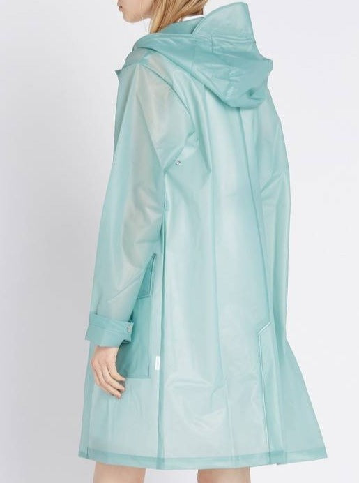 Transparent Hooded Coat in Dusty Mint