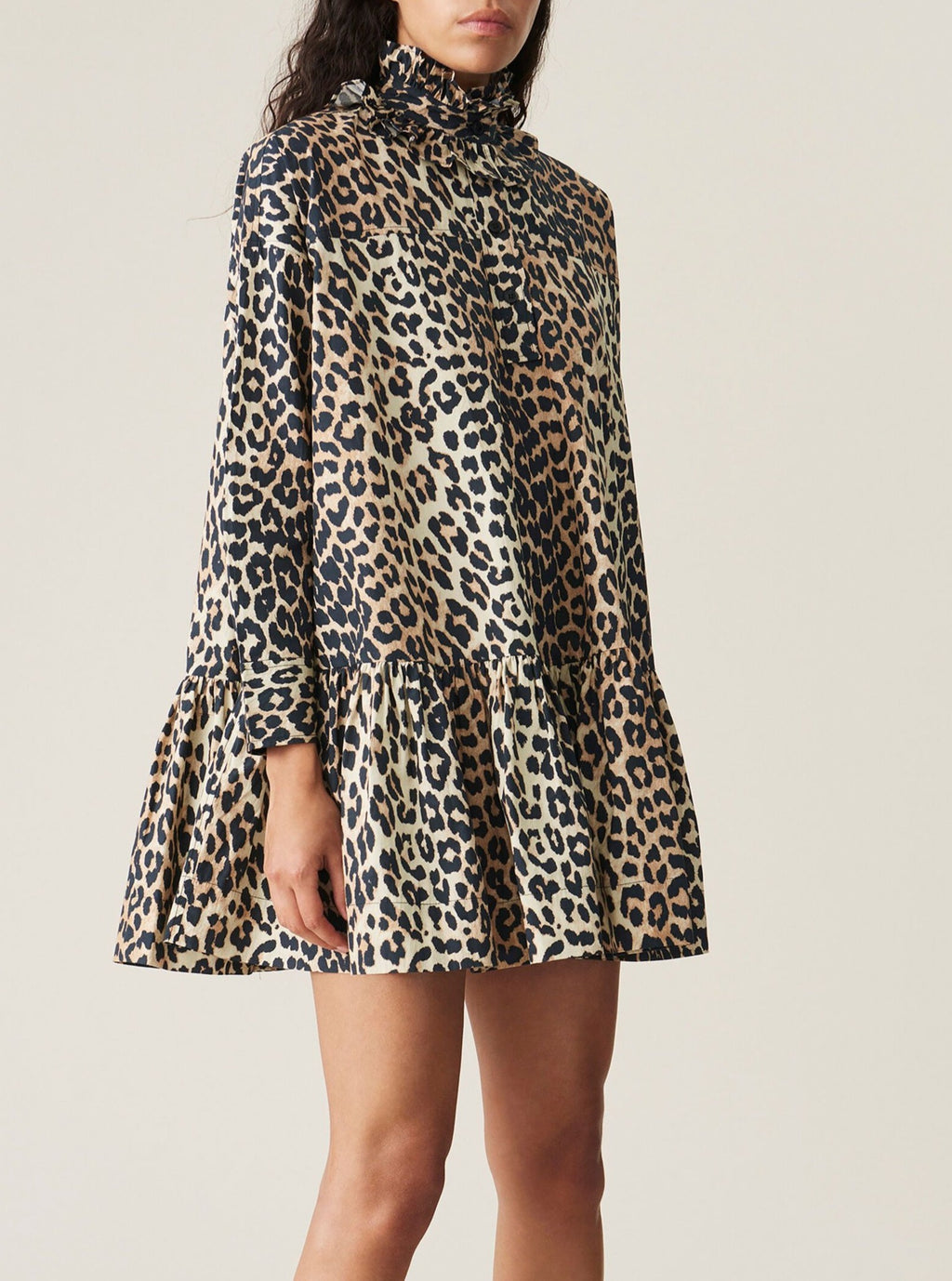 Leopard Poplin Mini Dress