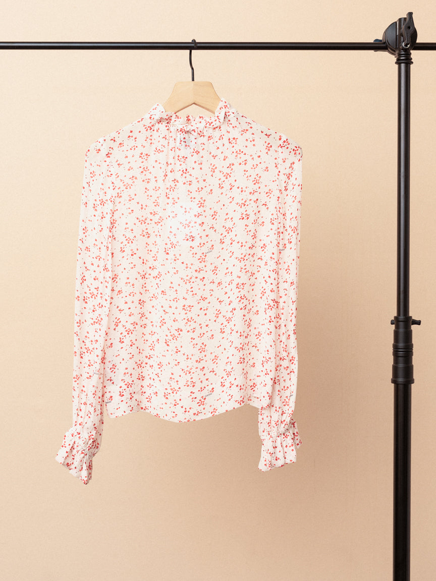 Printed Georgette Ruffle Neck Blouse
