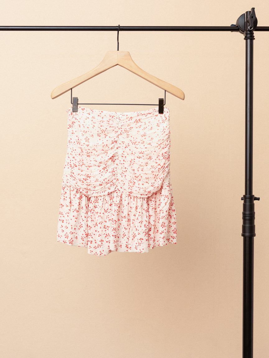 Ruched Floral Georgette Mini Skirt