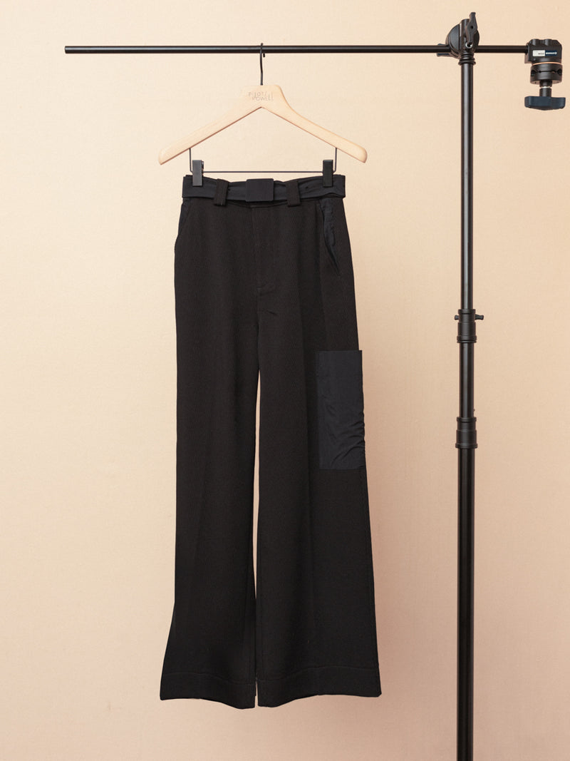 High Waist Cargo Twill Trousers