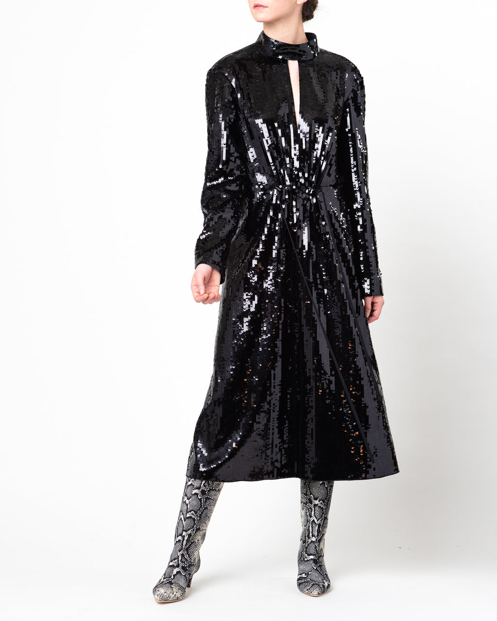 Avril Sequins Split Neck Dress