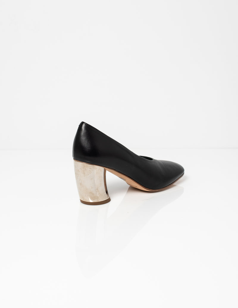 Nappa Pump with Silver Heel