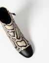 Printed Leather Curved Heel Boot