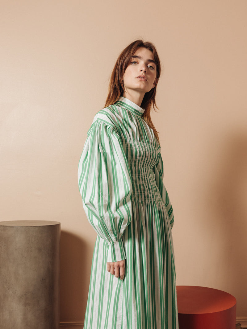 Smocked Midi Dress in Green Stripe