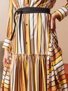 Striped Shirt Dress with Fluted Hem