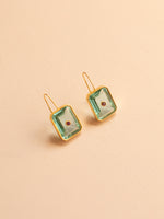 Tile Earrings in Aqua