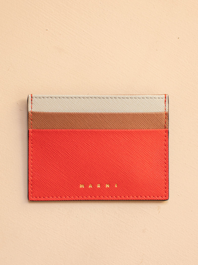 Saffiano Leather Card Case in Tulip