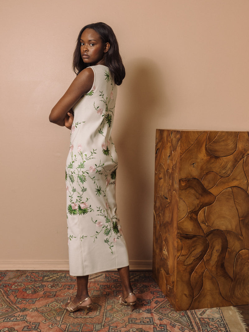 Blooming Floral Embroidered Knit Sheath Dress