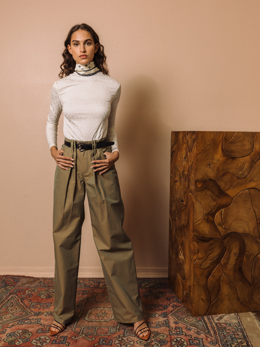 Pleated Utility Pant in Iridescent Twill