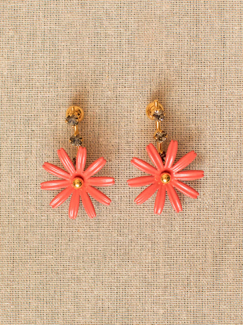 Flower Drop Earrings in Fuchsia