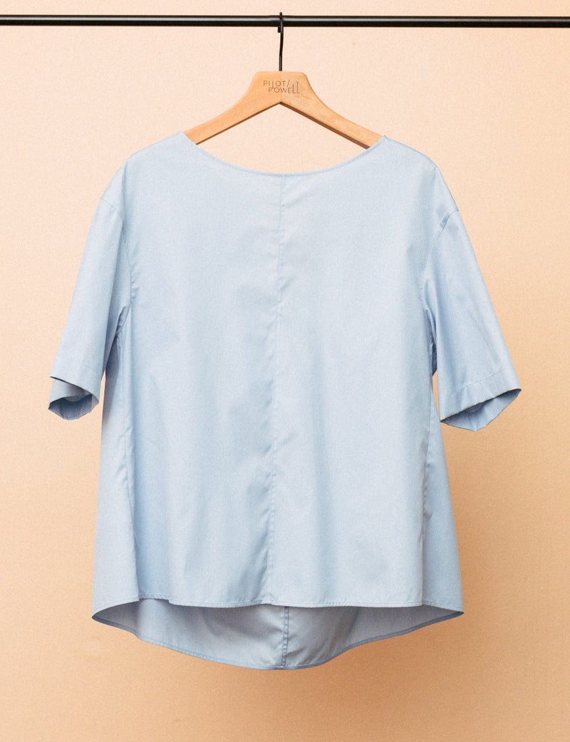 Short Sleeve Poplin Crewneck