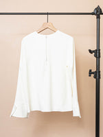 Crepe Blouse with Cuff Detail
