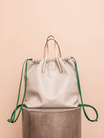 Gusset Backpack in White Nappa Leather