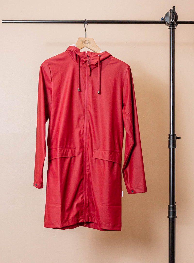 Zipper Rain Coat in Scarlet