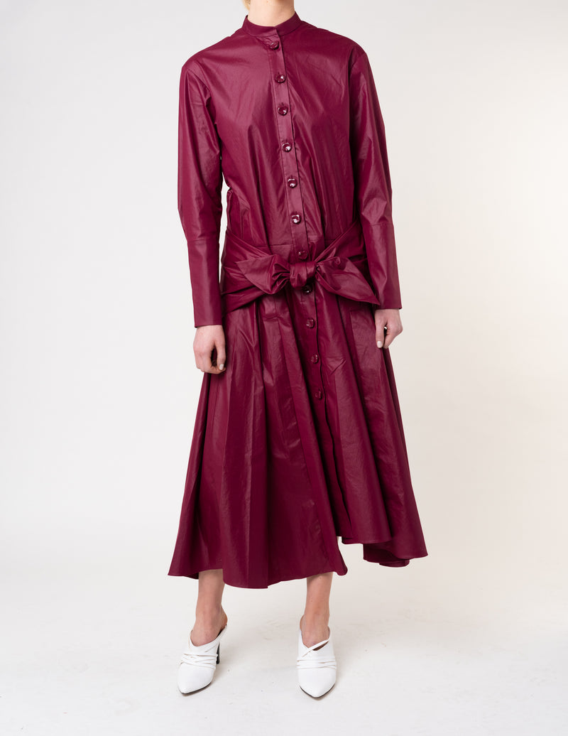 Glossy Plainweave Shirtdress
