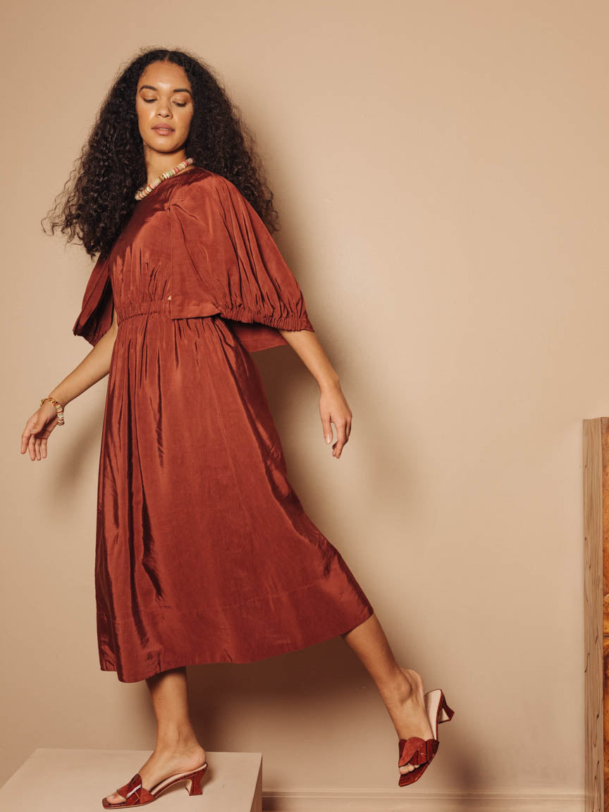 Gemma Shirred Waist Cape Dress