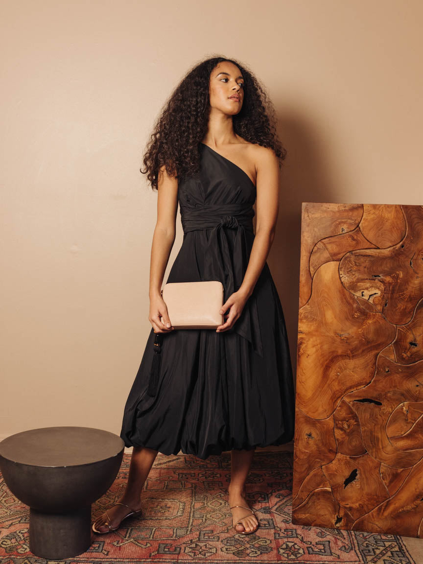Taffeta One Shoulder Dress