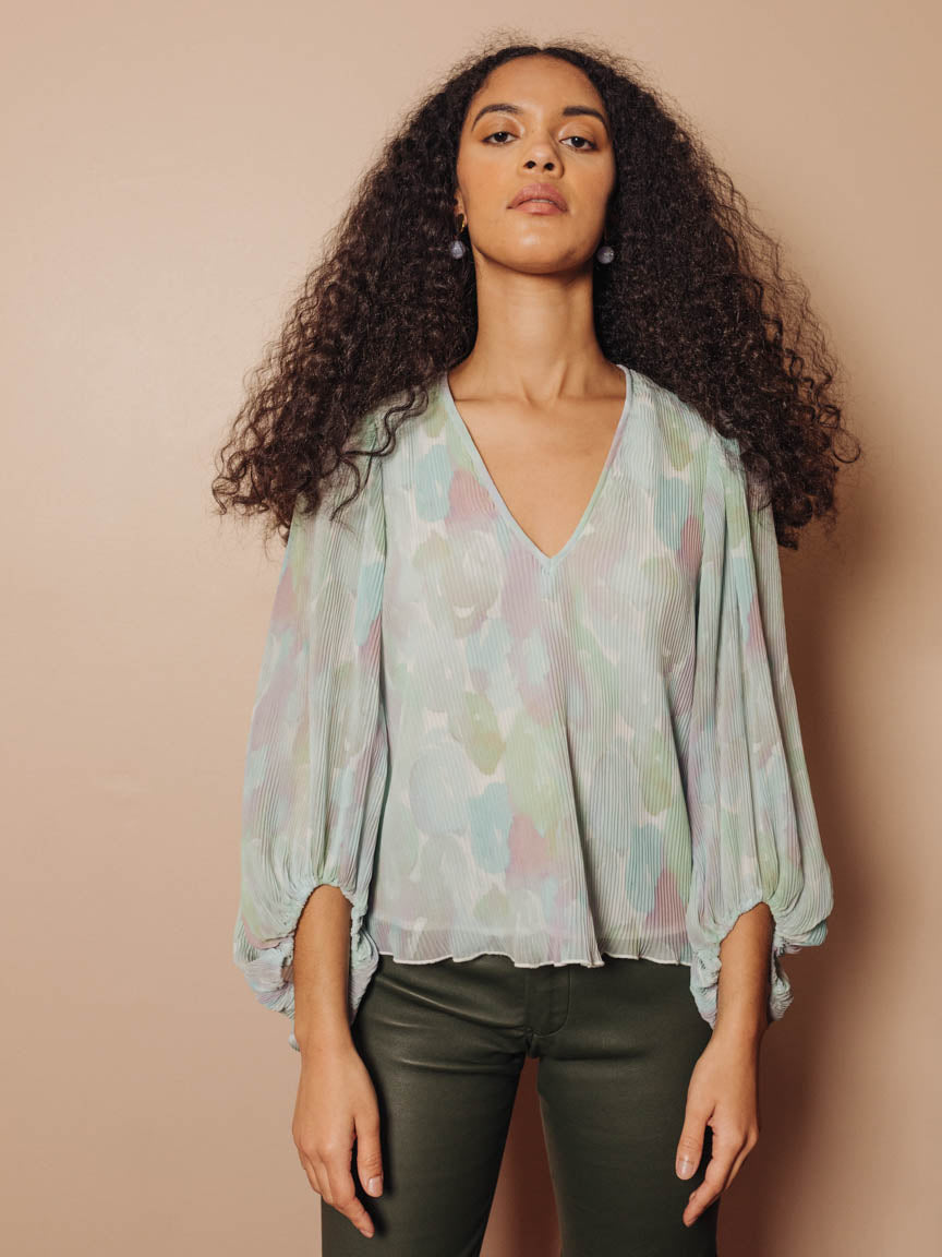 Pleated Georgette V-Neck Blouse